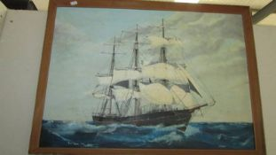 An R W Thayne 1970's) oil on board of three mast schooner at sale, named Astoria, signed.