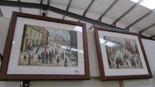 Two framed and glazed Lowry prints, 47 x 57 cm.