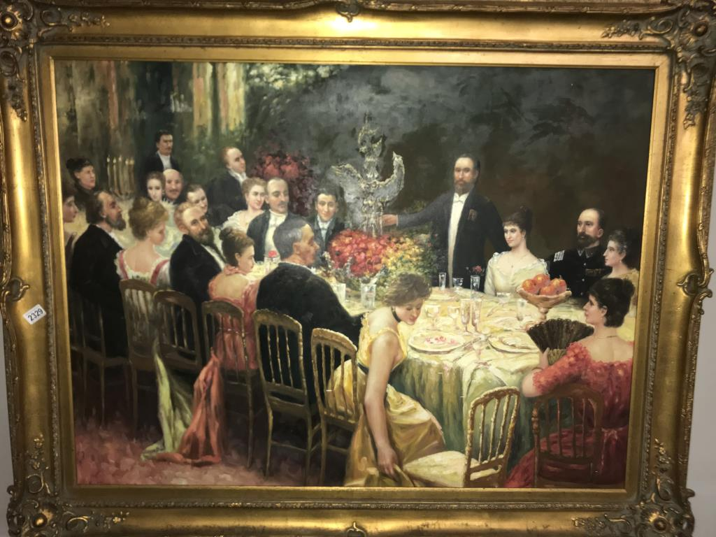 A superb gilt framed oil on canvas depicting a Russian dinner party, - Image 10 of 12