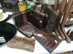 5 crocodile & 1 snake skin vintage handbags