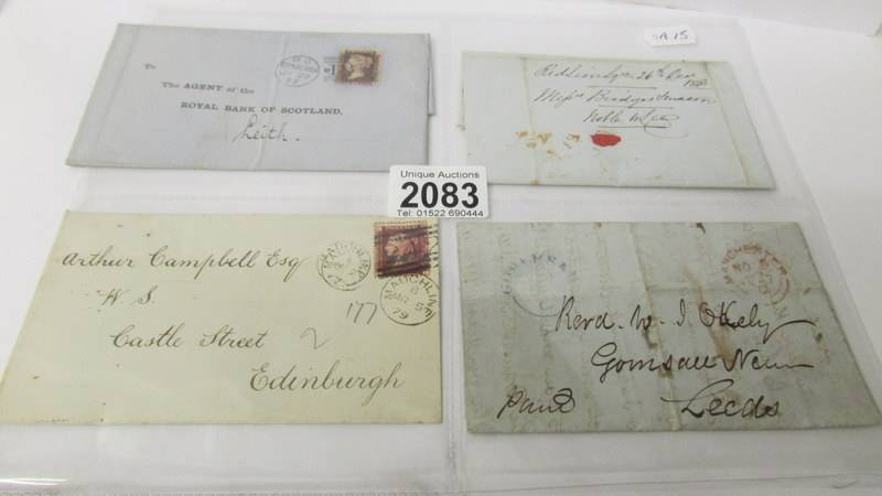 4 19th century letters - with stamps dated 1877/1879 and 2 without stamps dated 1843 and 1847.