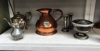 A Victorian copper half gallon jug 7 quantity of silver plate,