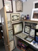11 framed prints of old maps, some glazed, various sizes and locations, including Yorkshire, Glos,