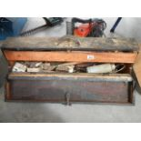 An old drop front tool box.