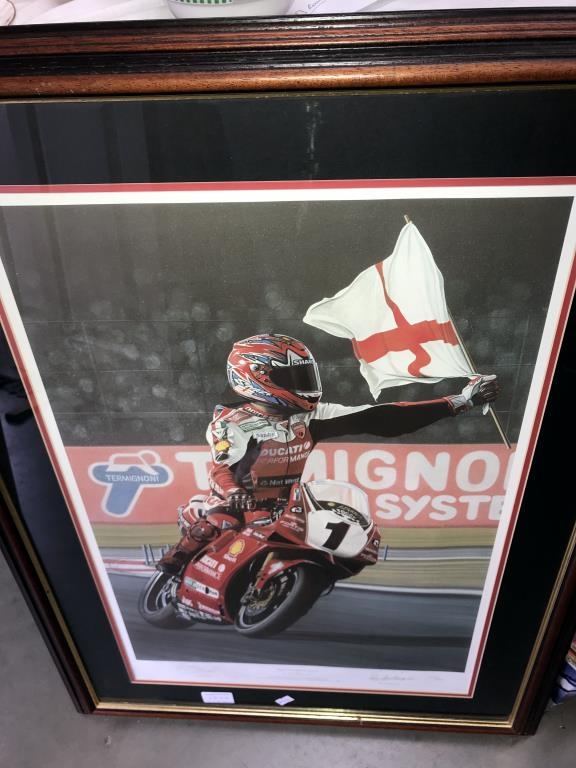 5 limited edition framed & glazed motorcycle pictures of Carl Fogarty. Signed C.F & Ray Goldsbrough. - Image 17 of 26