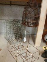 Three vintage wire work items including bird feeder.