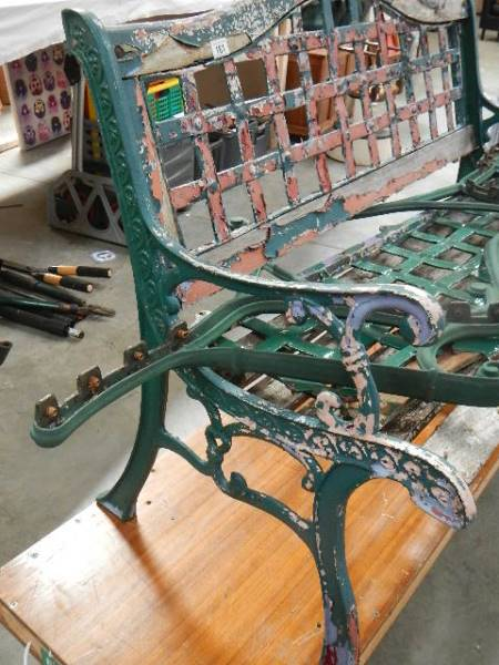 Two old cast garden benches in need of attention. - Image 2 of 3