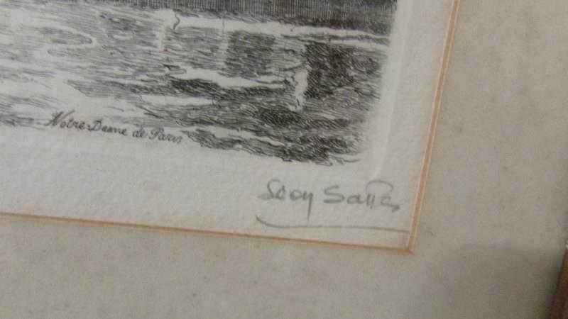 """A framed and glazed engraving """"Notre Dame Du Paris"""". - Image 3 of 3"""