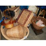 A quantity of cane and wicker items.