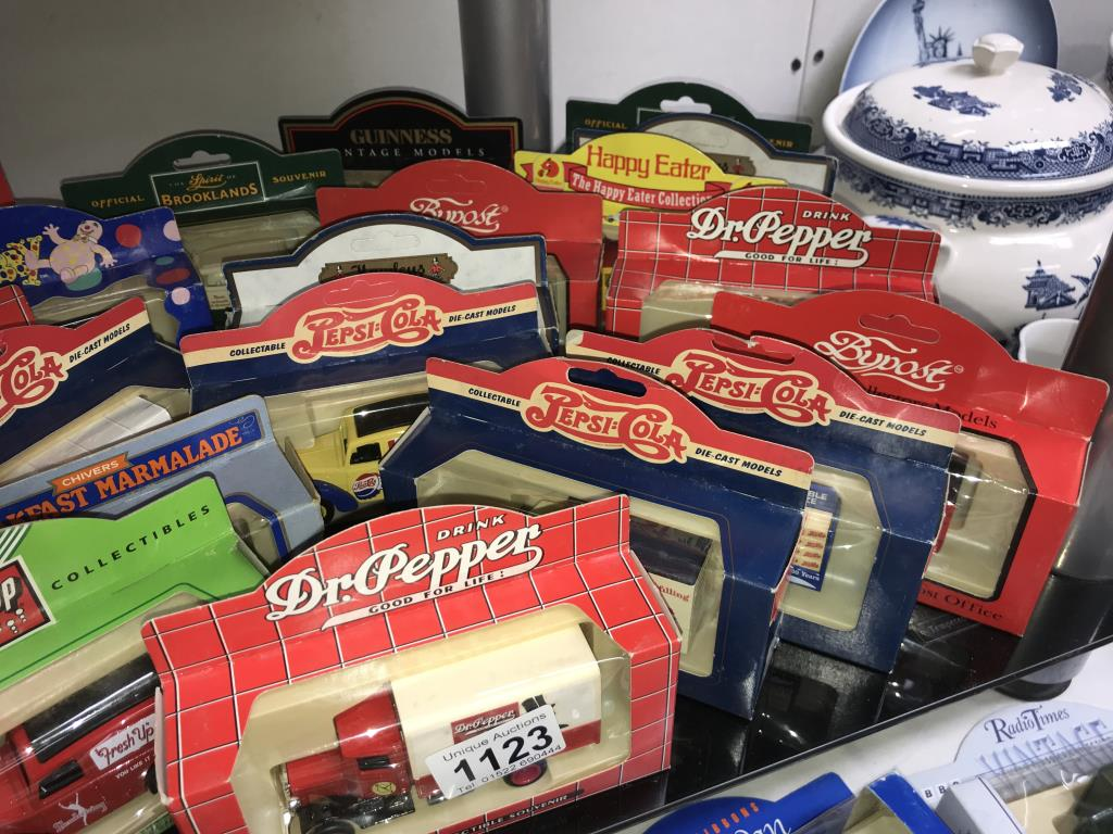 A selection of Lledo Guinness, Hamley's, Pepsi, Stanley Gibbons diecast models, - Image 6 of 6