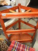 A wooden stick stand.