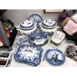 Royal Copenhagen statue of liberty and Viking collectors plates and quantity of blue and white