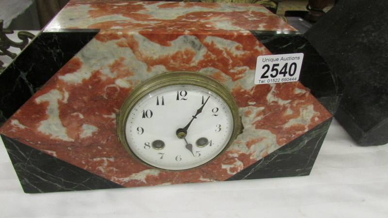 An interesting collection of clocks and clock parts including an art deco marble clock, - Image 2 of 8