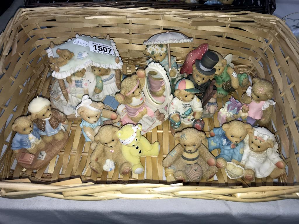 A collection of cherished teddies in 2 wicker baskets approximately 30 bears in total - Image 2 of 3