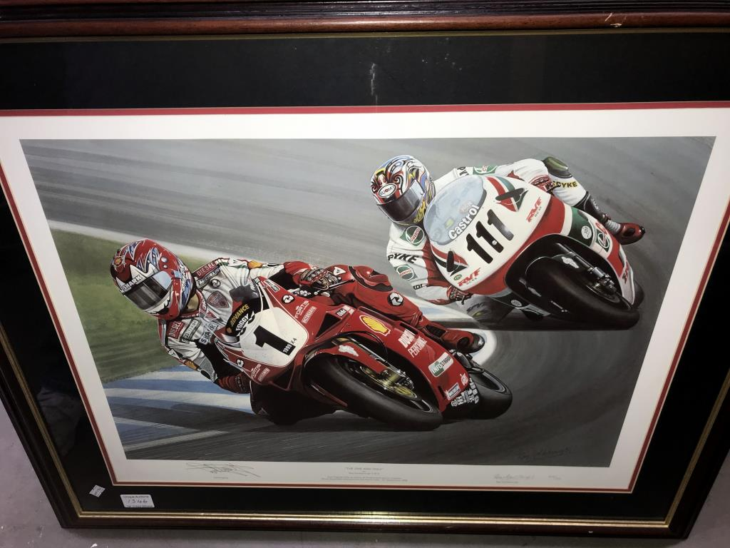 5 limited edition framed & glazed motorcycle pictures of Carl Fogarty. Signed C.F & Ray Goldsbrough. - Image 22 of 26