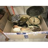 A selection of kitchen ware including scales & utensils etc.