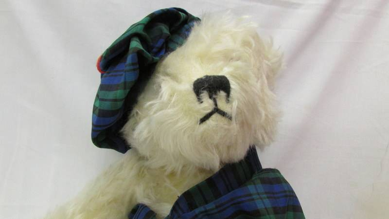 A limited edition Merrythought bear in Tartan hat and Scarf, with growler. - Image 2 of 3