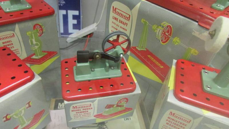 Five boxed Mamod steam engine accessories including power hammer, polisher etc. - Image 5 of 6