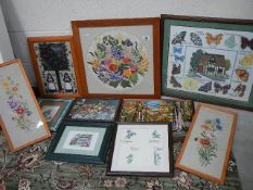 Ten assorted woolwork pictures, various sizes.