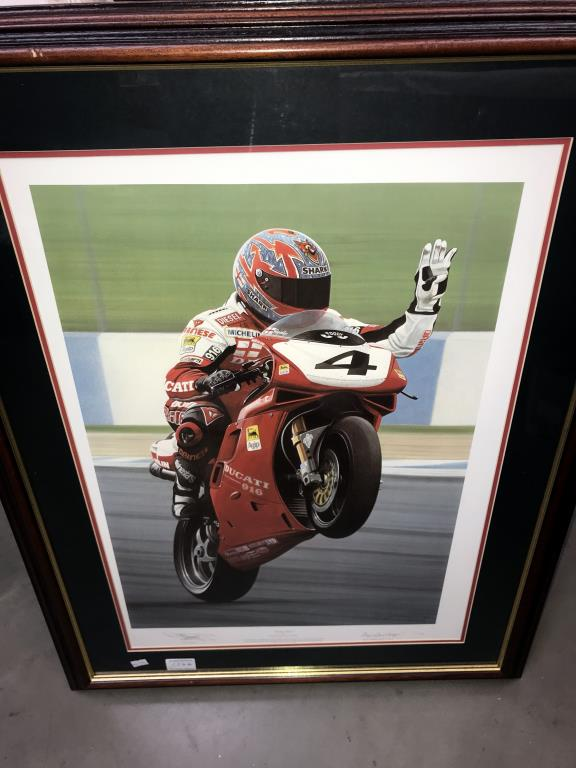 5 limited edition framed & glazed motorcycle pictures of Carl Fogarty. Signed C.F & Ray Goldsbrough. - Image 7 of 26