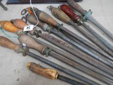 A quantity of knife sharpening tools.