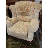A wing arm chair.