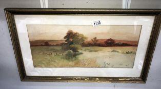 A farmland watercolour signed S J H 39cm x 67cm frame a/f