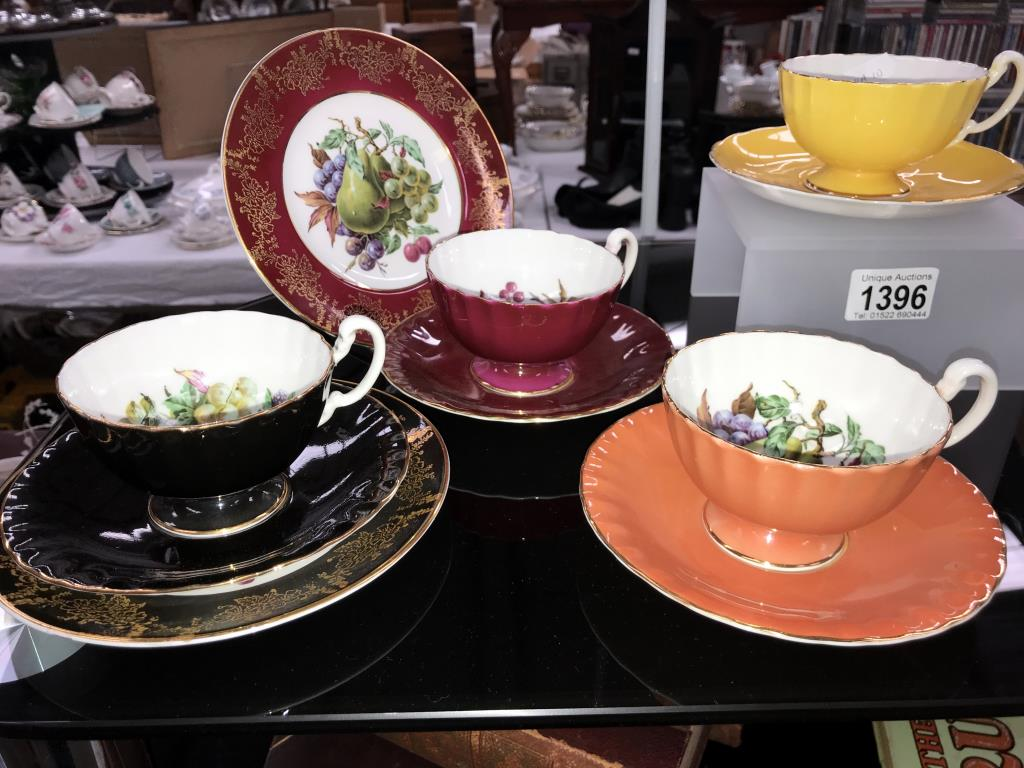 A quantity of Aynsley Trio's & cups & saucers (yellow saucer is Tuscan & green plate) - Image 2 of 3