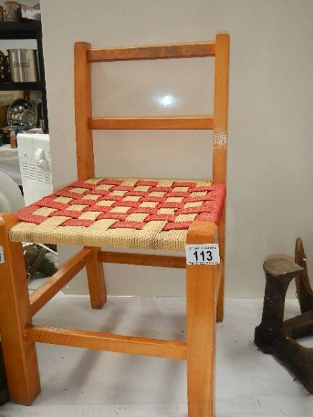 A small child's chair.