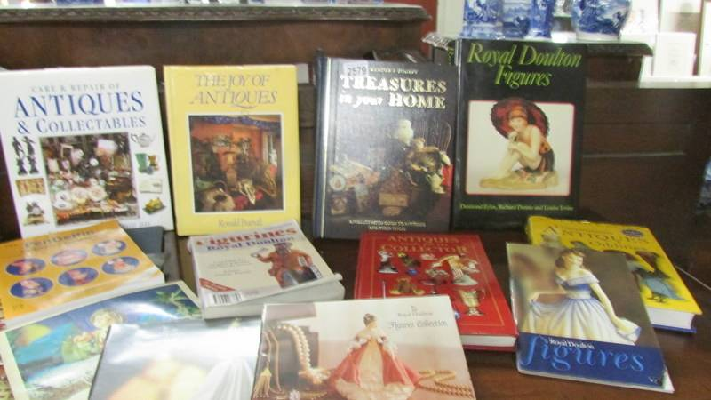 A collection of antique reference books.