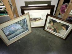 4 framed & glazed prints including cat & 1 other