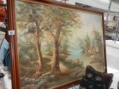 A framed rural scene on canvas.