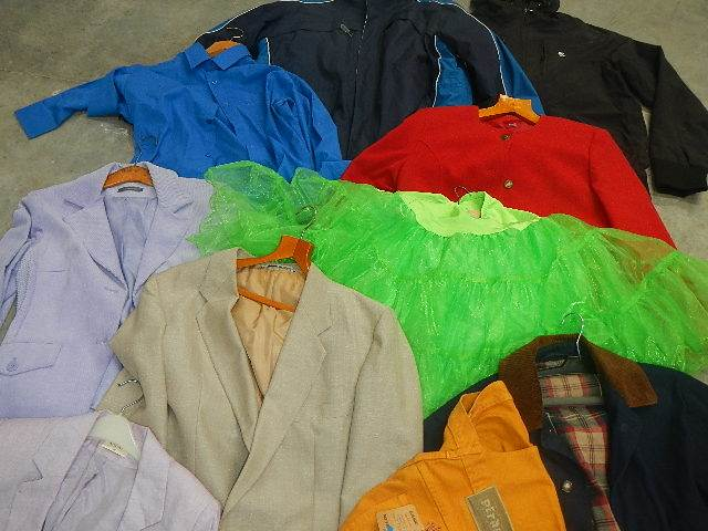 A rail of assorted suits, jackets and other clothing. - Image 11 of 11