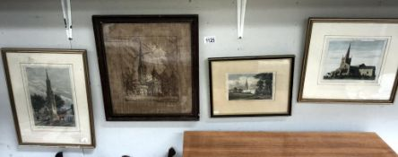 19/20c silk picture of Salisbury Cathedral & 3 engravings, Grantham Church, Frisby F.