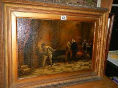 A Victorian gilt framed oil on canvas, signed but indistinct. 73 x 55 cm.