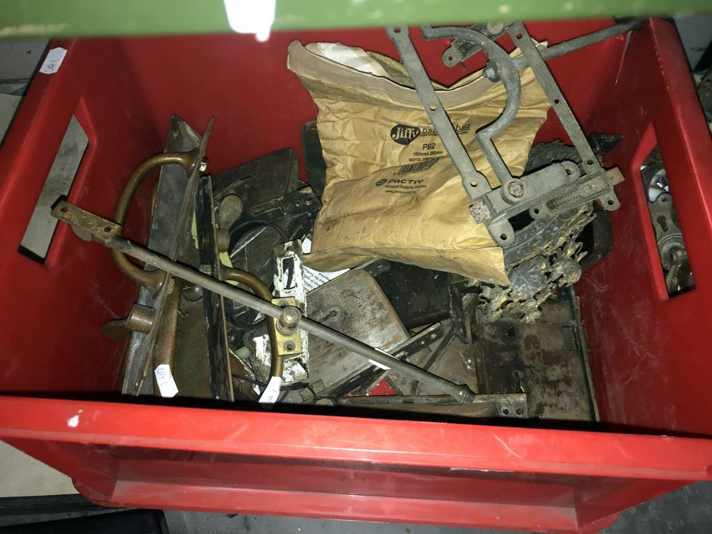 A quantity of vintage brass door fittings including locks, handles plus furniture castors etc. - Image 2 of 3