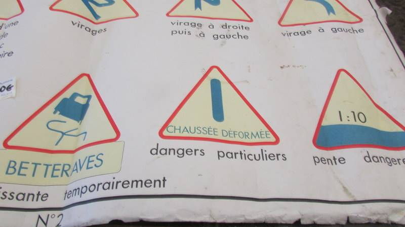 """A mid century French double sided class room poster """"Signeaux de Danger"""". - Image 7 of 7"""