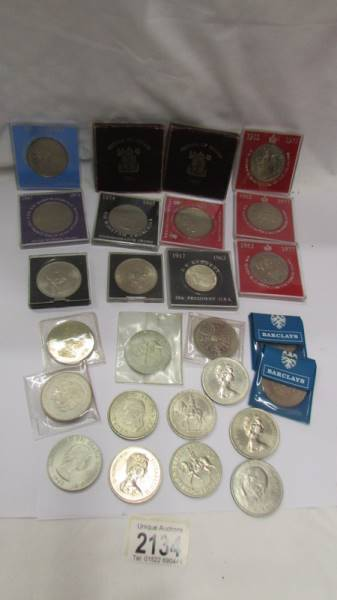 A mixed lot of crowns etc., including Festival of Britain 1951, JFK etc.