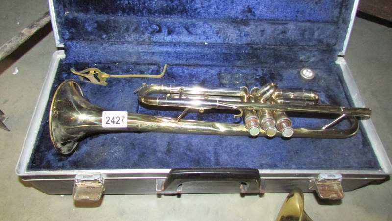 A cased Boosey & Hawkes 'Besson' trumpet.