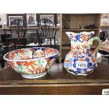 A Mason's ironstone jug & an unmarked Imari bowl