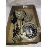 A quantity of various ornate silver plated serving spoons/forks etc.