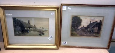 2 watercolours of thatched cottages, 1 near water, signed F Meginn,