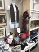 A good lot of scarves including head scarves, some new items and 2 torso wall art figures.