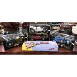 4 boxed Burago cars including Alfa Romeo & boxed Chipperfield Scammel Highwayman trailer & caravan