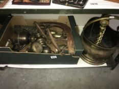 A selection of brass ware including candlesticks, coal scuttle, silver plated goblets etc.