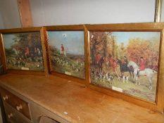 Three good gilt framed hunting scenes, 59 x 49 cm.