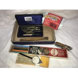 A mixed lot including penknife & part geometry set etc.