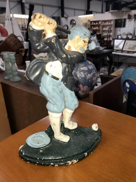 A cast iron door stop of a golfer and a Juliana collection clock figure of a golfer - Image 2 of 3