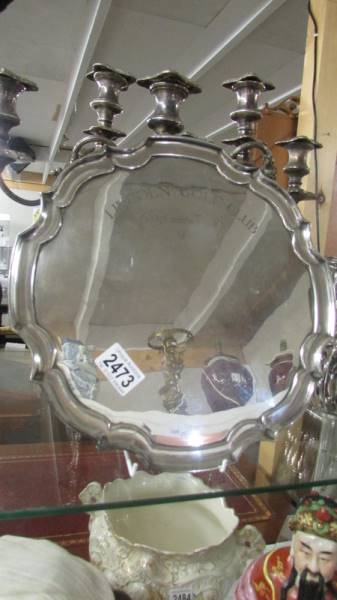 A Lincoln Golf Club Captain's prize 1981 silver plate tray.