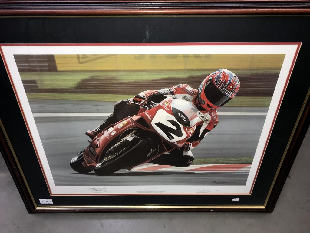 5 limited edition framed & glazed motorcycle pictures of Carl Fogarty. Signed C.F & Ray Goldsbrough. - Image 12 of 26